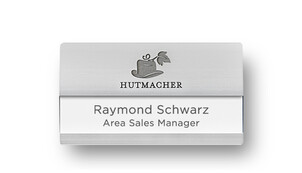 Curved Metal Name Badges for Two Lines; with Engraving