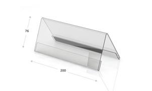 Tischaufsteller Acryl, Dachform 200 x 76