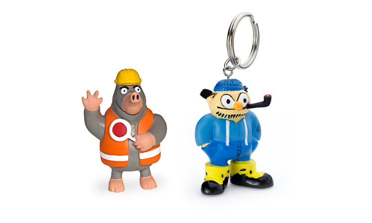 Key ring figures in hand-painted plastic