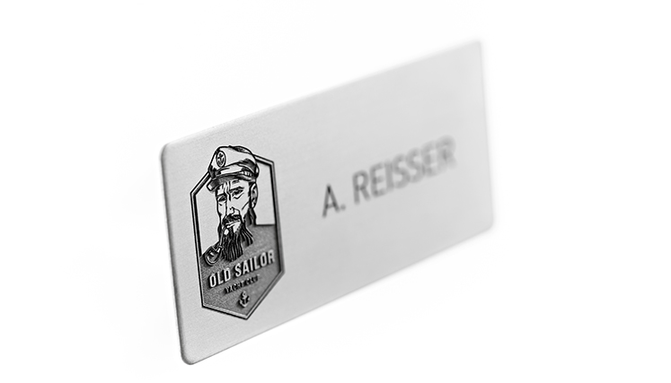 aluminium name badges with rounded corners and engraving