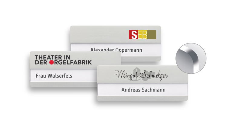 Aluminium name badges with rounded corners