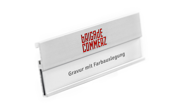 name badge in silver-coloured matt anodised aluminium with engraving