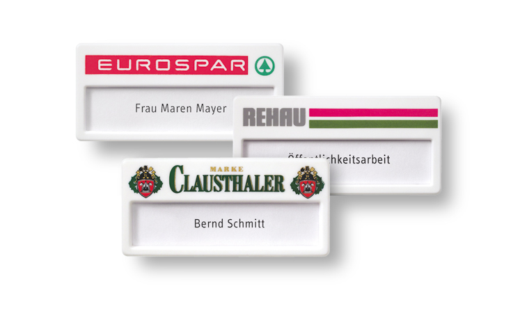 White plastic name badges