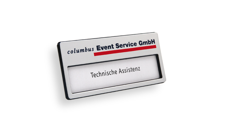 Name badges made of plastic, colour silver