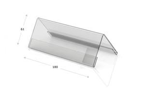 Tischaufsteller Acrylglas, Dachform 180 x 61 mit Papiereinleger
