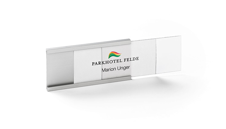 Name badges made of aluminium to print/write-on your logo