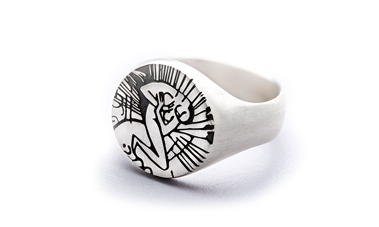 Silver Signet Ring with Engraving, Franz Marc