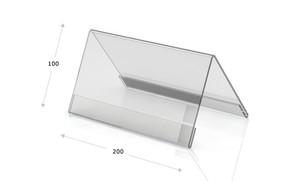 Tischaufsteller Acryl, Dachform 200 x 100
