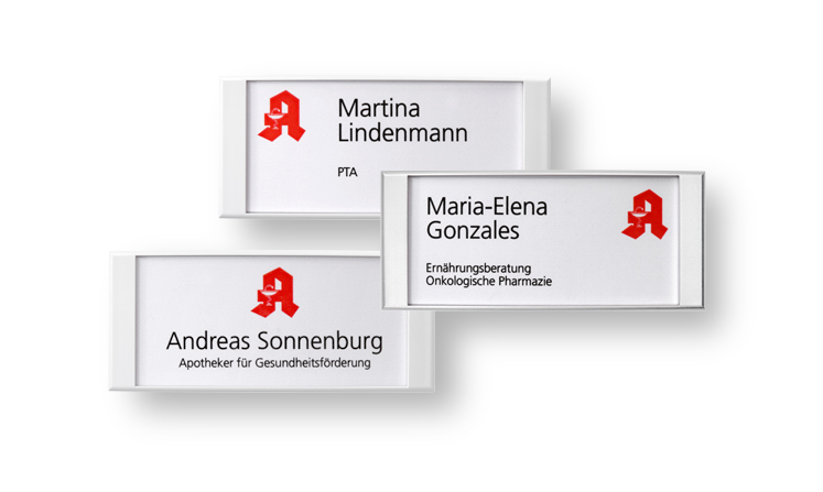 Pharmacy name badges with paper inserts