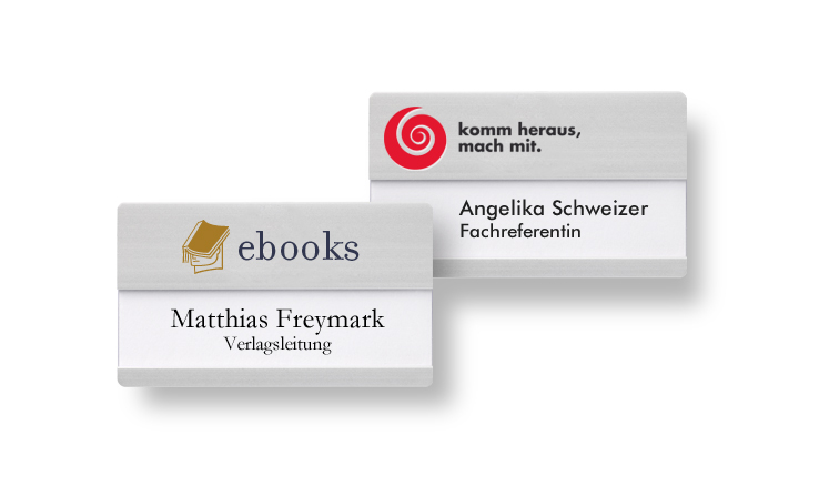 Name badges for names with an additional line and large logo