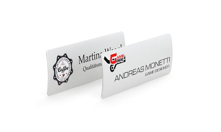 Name badges made of aluminium