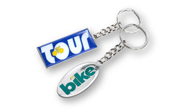 Metal keychain with colored enamel