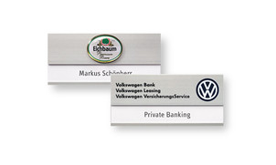 Name badges made of aluminium