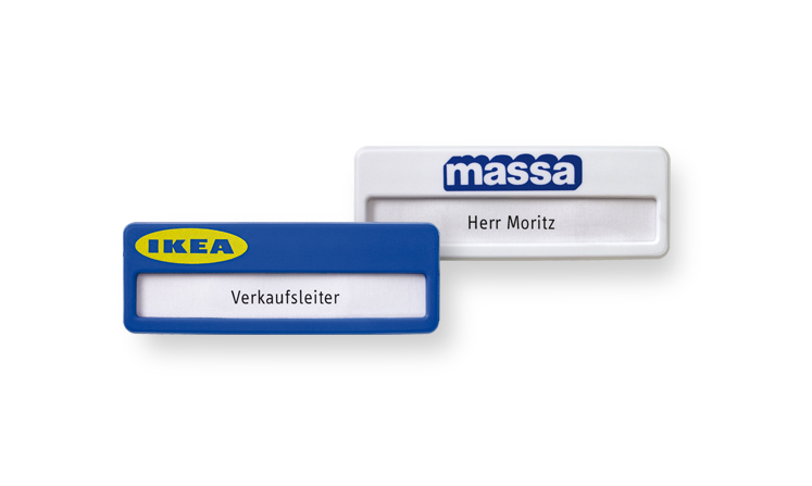 Plastic name badges with print