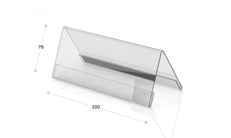 Desk plate, roof shape, 200 x 76 mm