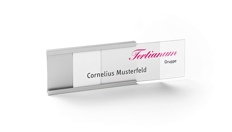 Print/write-on name badges made of aluminium