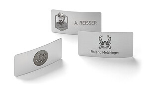 Metal Name Badges with Elegant Longitudinal Curvature and Engraving