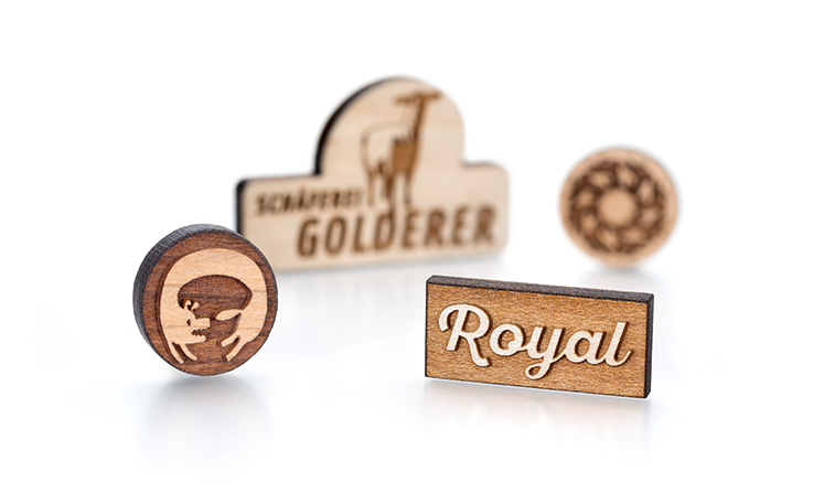 Wooden pin badges, wooden lapel pins or wooden brooches