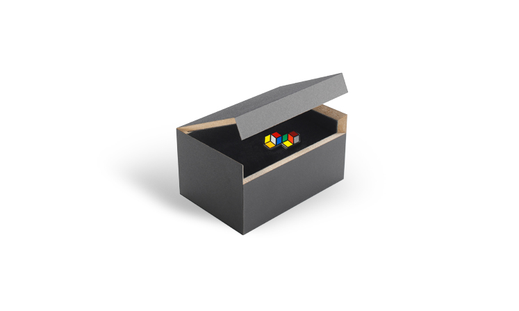 Lapel pins made of precious metal in our MDF presentation box