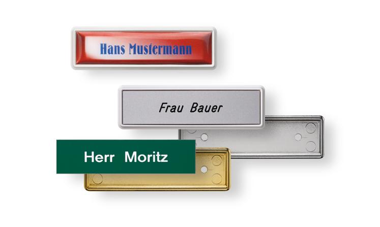 Namensschilder mit Kunststoffeinlagen