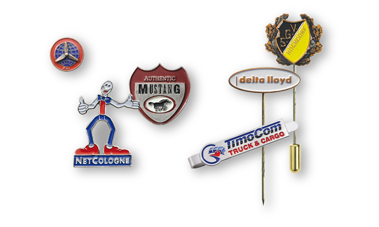 Lapel pins and pin badges with color lining