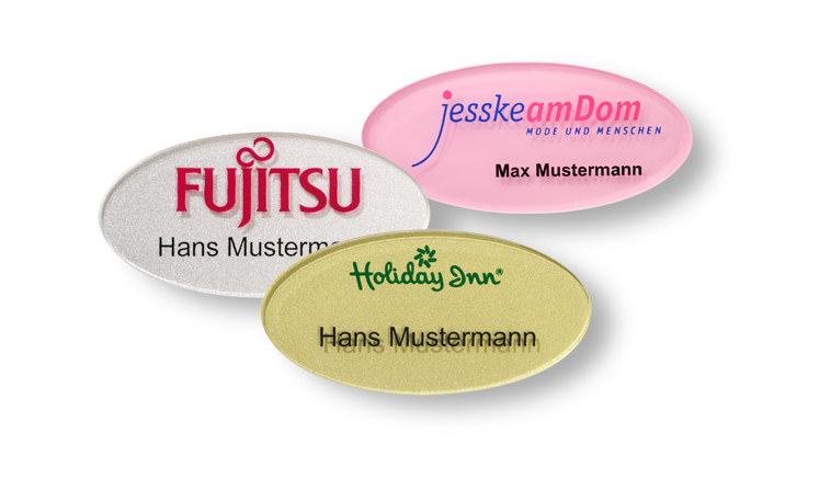 Round acrylic name badges