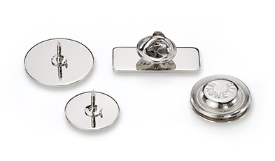 Metal Bases for wooden pin badges, label pins and brooches