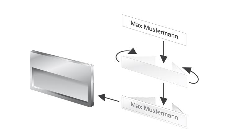 Montagehilfe für Kunststoff-Namensschilder mit seitlichem Papiereinschub