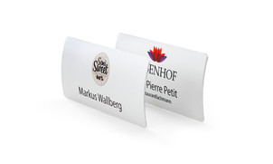 Curved aluminium name badges