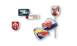 Lapel pins & pin badges with colour lining & clear cold enamelling