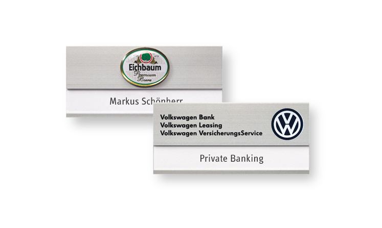 Name badges made of aluminum