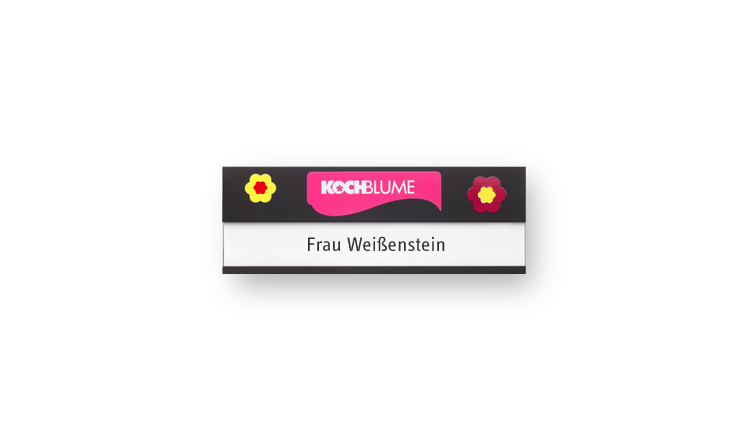 Name badge black anodized and printed