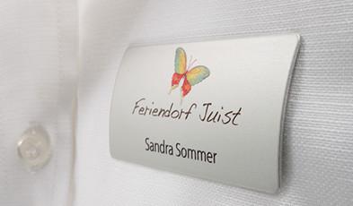 Elegantly curved name badges