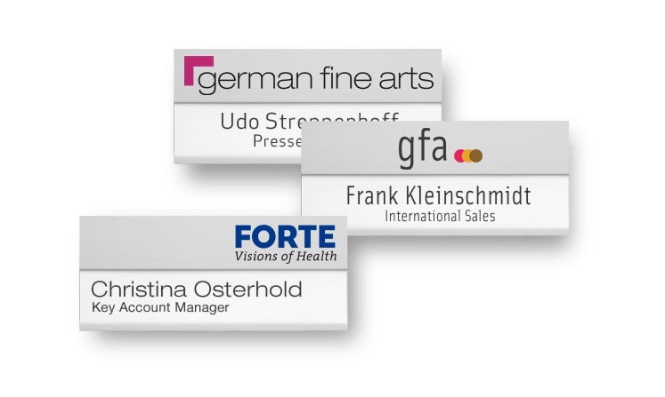 Name badges with extra-large area for lettering